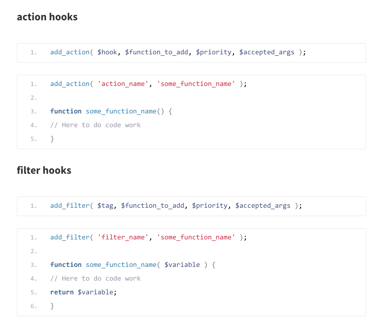 Actions and Filters hooks in WordPress