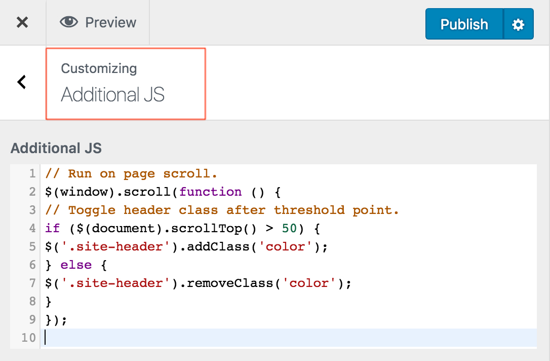Adds an Additional JS control to the WordPress Customizer