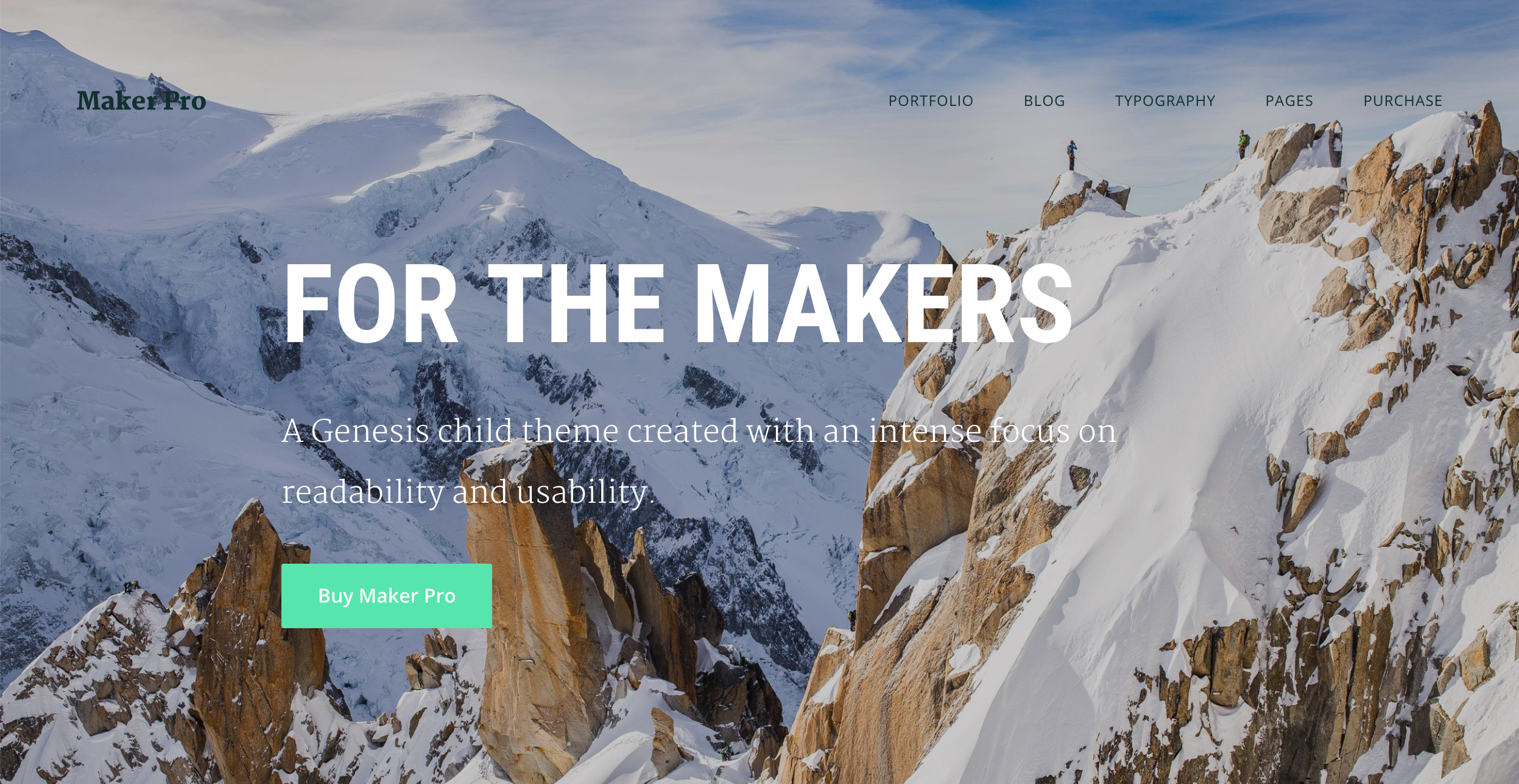 Background image in site header and front page section in maker pro