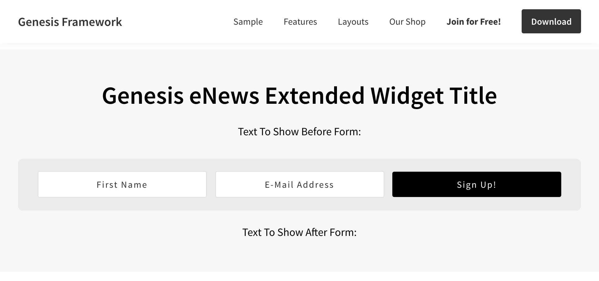 Custom Newsletter section design in Genesis