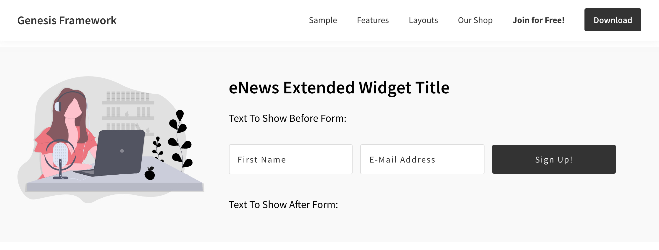 Newsletter section design having Image and Text widget