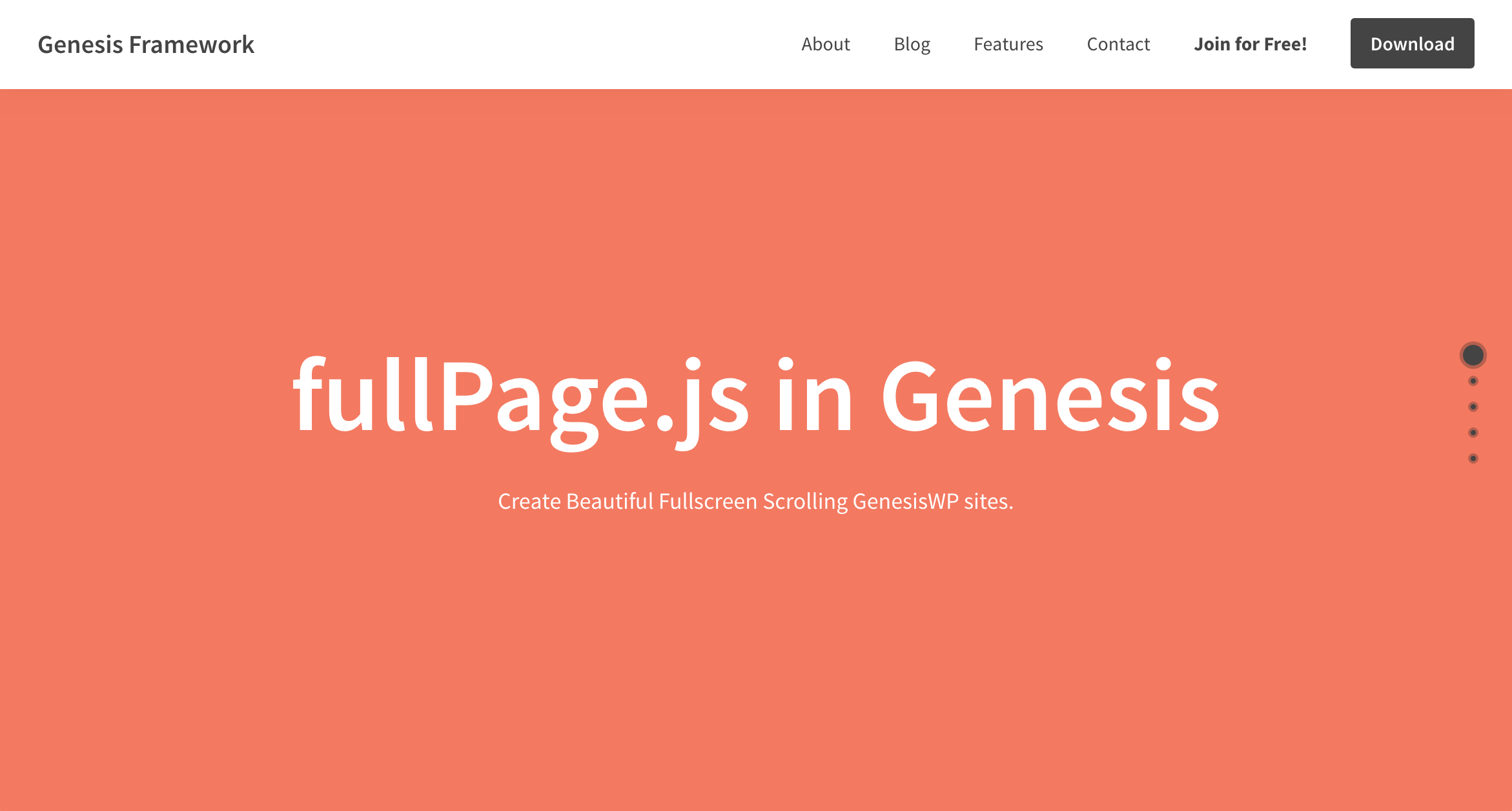 One Page Scroll sections using fullpage.js in Genesis